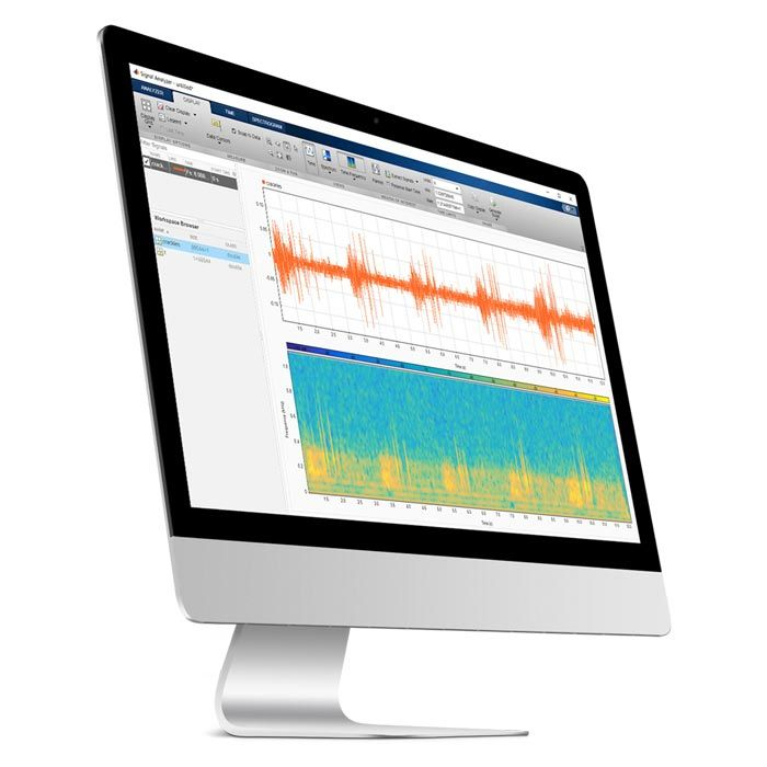A computer shows signal processing and wavelet analysis of the sound data.