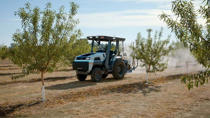 Driverless tractor with sprayer attachment moving along rows of trees.