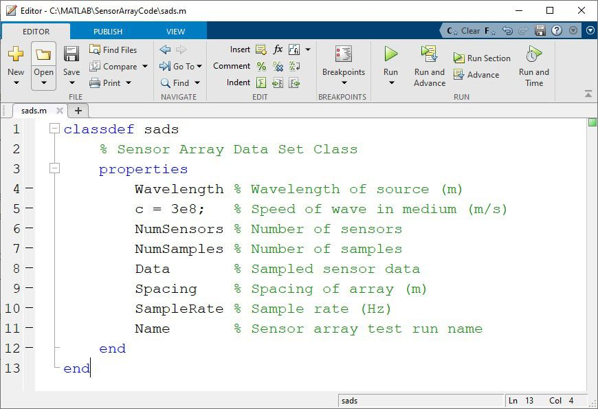 Figure 2. Class definition file sads.m with properties.