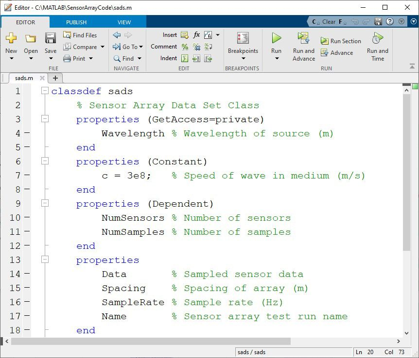 Figure 3. Class definition file sads.m with property attributes.