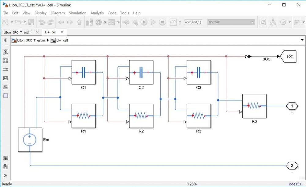Figure 2. An isothermal 3-RC equivalent circuit developed for parameter estimation using Simscape blocks.