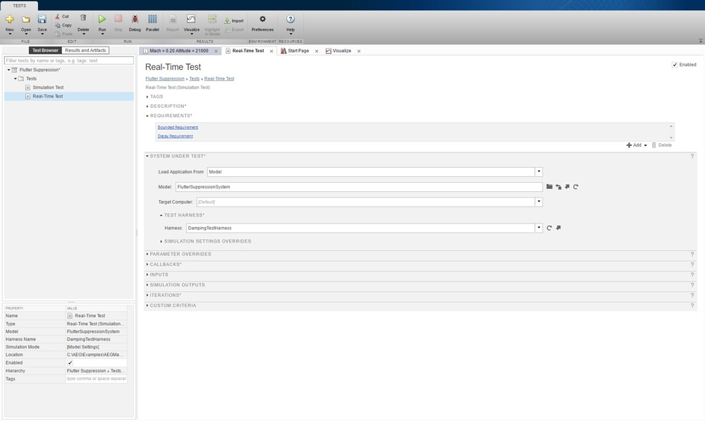 Figure 11. Test Manager interface for setting up a real-time test.