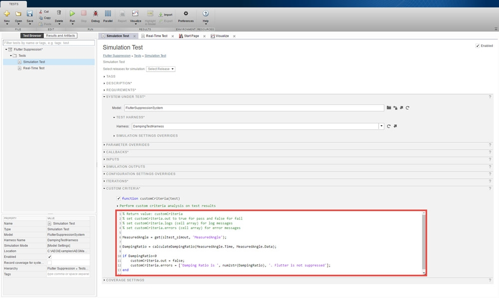Figure 7. Setting up the cleanup callback for custom criteria in the Test Manager interface.