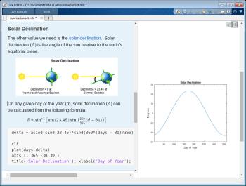 Live Editor には、処理された結果とそのコードが一緒に表示されるため、探索的なプログラミングおよび解析が高速化されます。方程式、画像、ハイパーリンク、書式付きテキストを追加して表現を広げることができます。