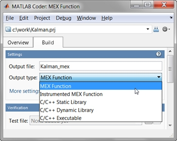 Figure 5. MATLAB Coder menu for generating a MEX function.
