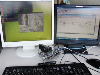 Figure 1. Lab setup with the BeagleBoard hardware connected to the video stream and the Simulink model.