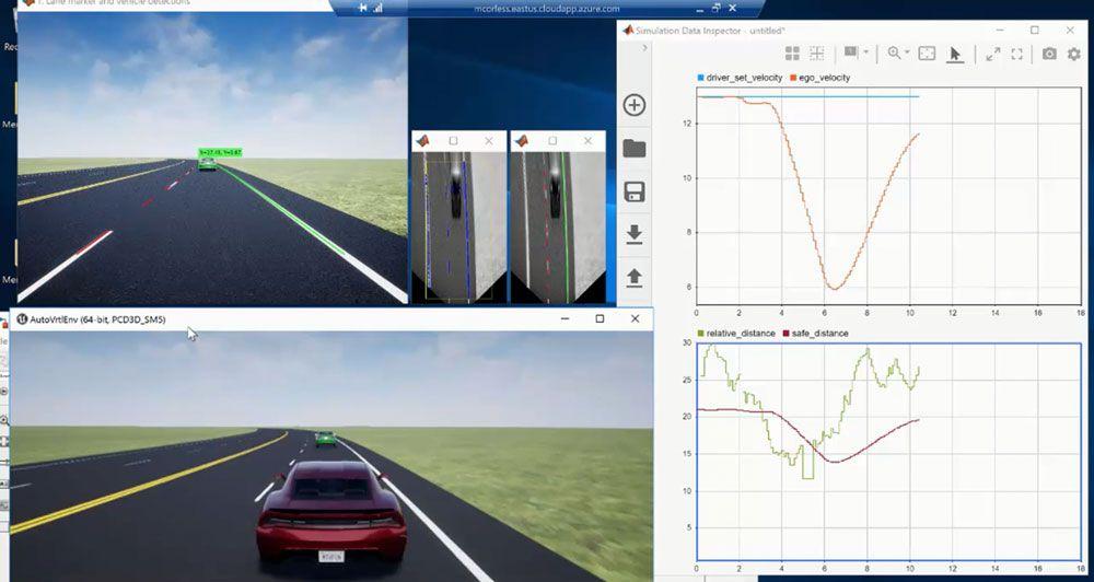 MATLAB/Simulinkで作成された単眼カメラ認識による車線追従制御