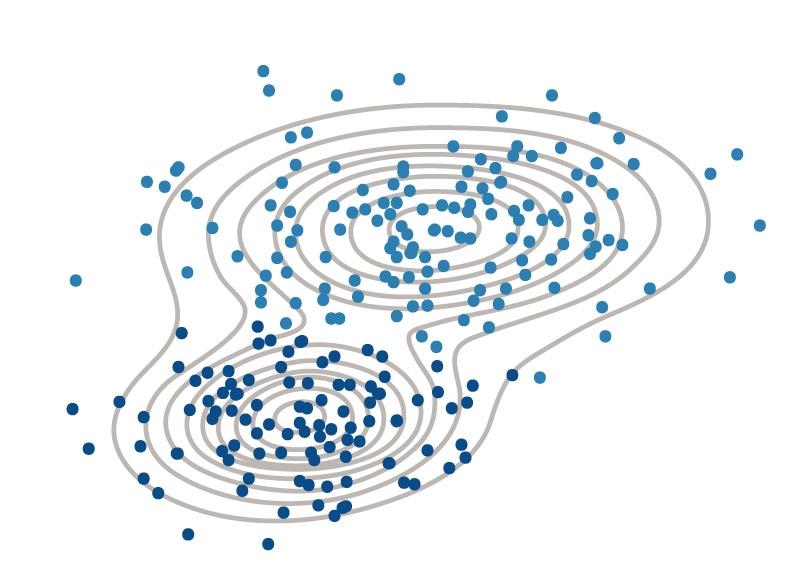 2つのクラスターからなるデータ(散布図)