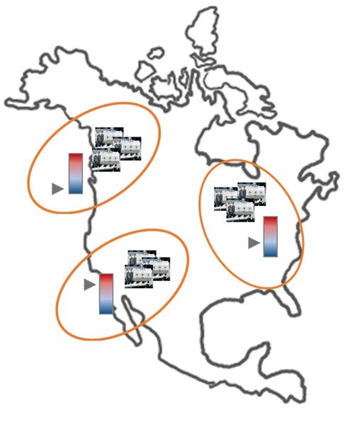 採掘用の井戸3サイトが複数のポンプを有する例