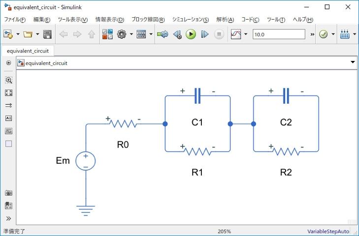 2つの異なる時定数、内部抵抗、および開回路電位を有するバッテリー(電池)の等価回路
