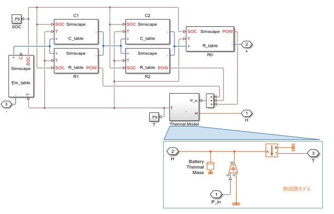 熱回路付きバッテリーの等価回路