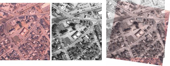 Registering aerial photos using point mapping