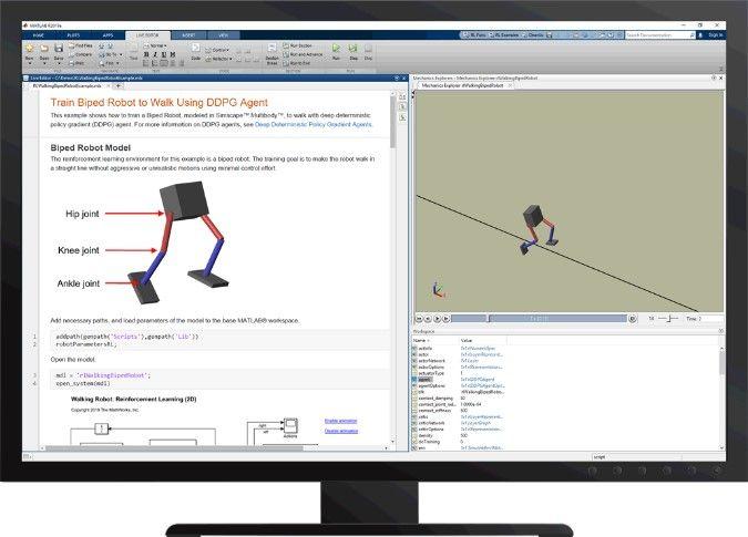 図 6 Reinforcement Learning Toolbox™ を使用した二足歩行ロボットの歩行訓練