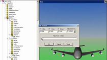 螺旋状の軌跡に沿って 747 型機の 3D モーションをアニメーション化します。