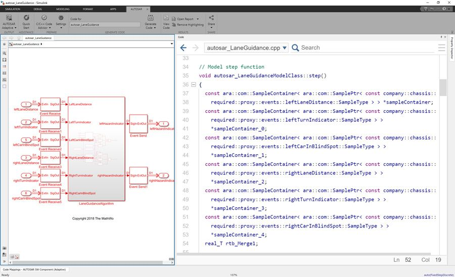 Model and generate C++ code for SOA-based AUTOSAR adaptive applications in Simulink using AUTOSAR Blockset and Embedded Coder.