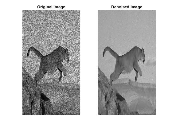 オリジナル画像 (左) とノイズ除去済み画像 (右)。ウェーブレットのノイズ除去関数を使用して、画像のエッジを維持したまま、ノイズ除去を行いました。