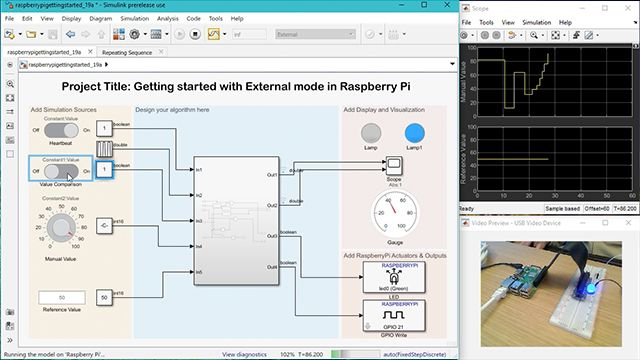 See how Simulink now lets you use Dashboard blocks and Simulation Data Inspector to run models interactively on supported Arduino boards and Raspberry Pi computers.