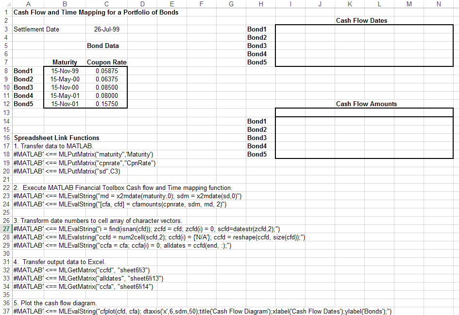 map time and bond cash flows matlab simulink mathworks 日本