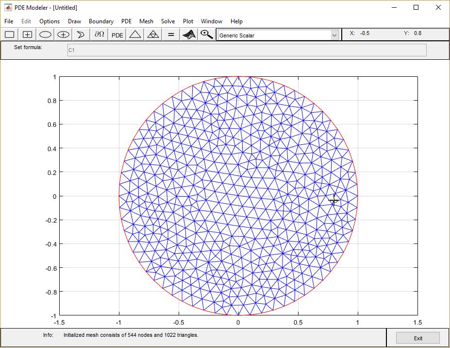 poisson s equation on unit disk pde modeler app matlab simulink
