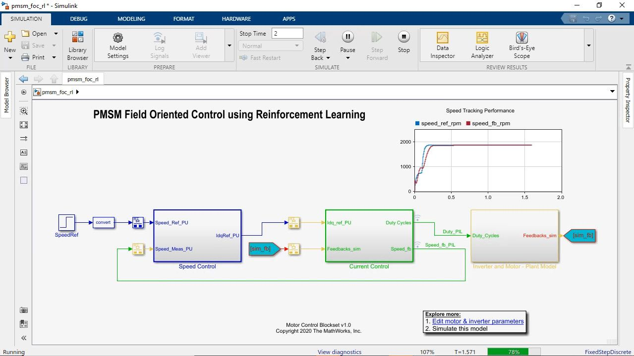 This video demonstrates field-oriented control of a PMSM using reinforcement learning. The reinforcement learning agent is designed and trained to replace the inner current loop PI controllers of the field-oriented control architecture.