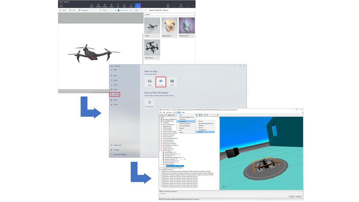 ペイント 3D ライブラリからインポートされ、FBX ファイルとして保存され、3 次元空間に読み込まれたドローン。