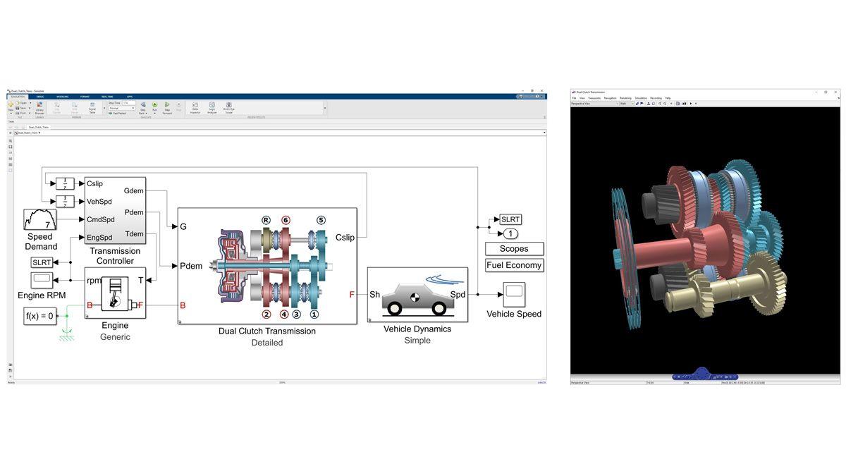 Simscape Driveline でモデル化されたデュアルクラッチ トランスミッションでのダイナミクスの 3 次元アニメーション