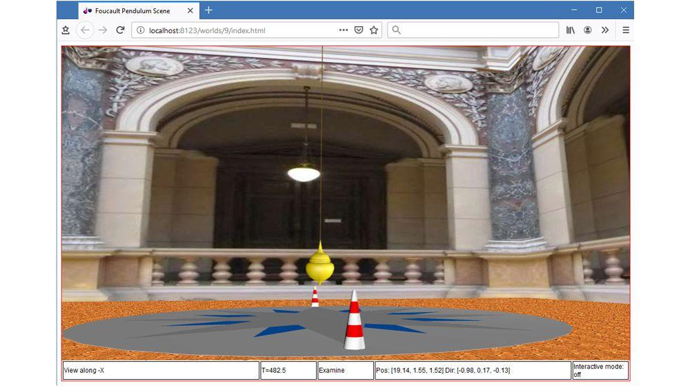 HTML5 対応ブラウザーでのフーコーの振り子の 3 次元アニメーション。