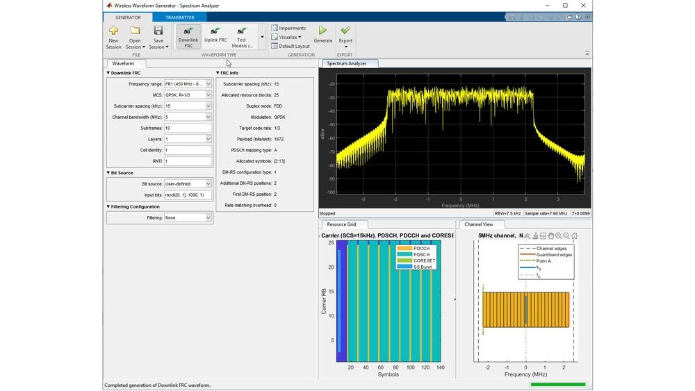 Wireless Waveform Generator アプリを用いたテストモデル生成