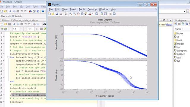 Simulink モデルの平衡化と線形化をバッチモードで実行するスクリプトを作成します。