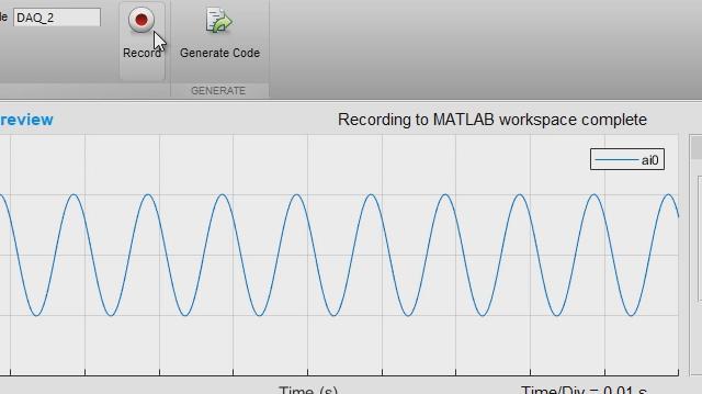アナログ入力レコーダーアプリは Data Acquisition Toolbox を素早く始めるのに役立ちます。セッションを対話型で設定し、MATLAB ワークスペースに直接データを収集して、MATLAB コードを生成して将来の取得を自動化することができます。
