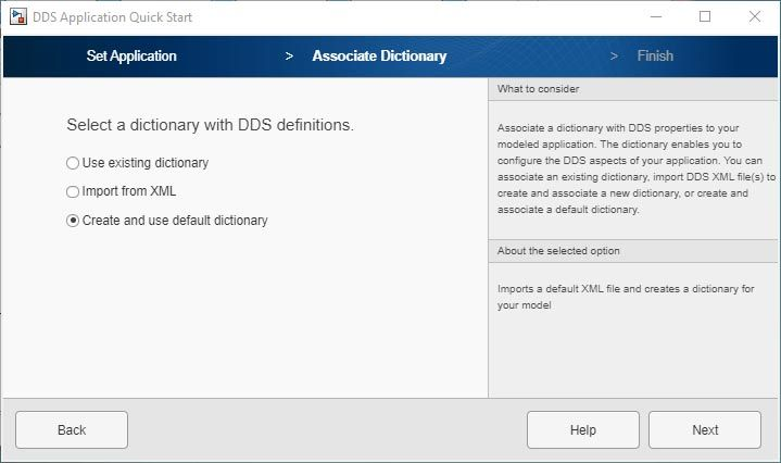 DDS Application Quick Start アプリのユーザー インターフェイス。