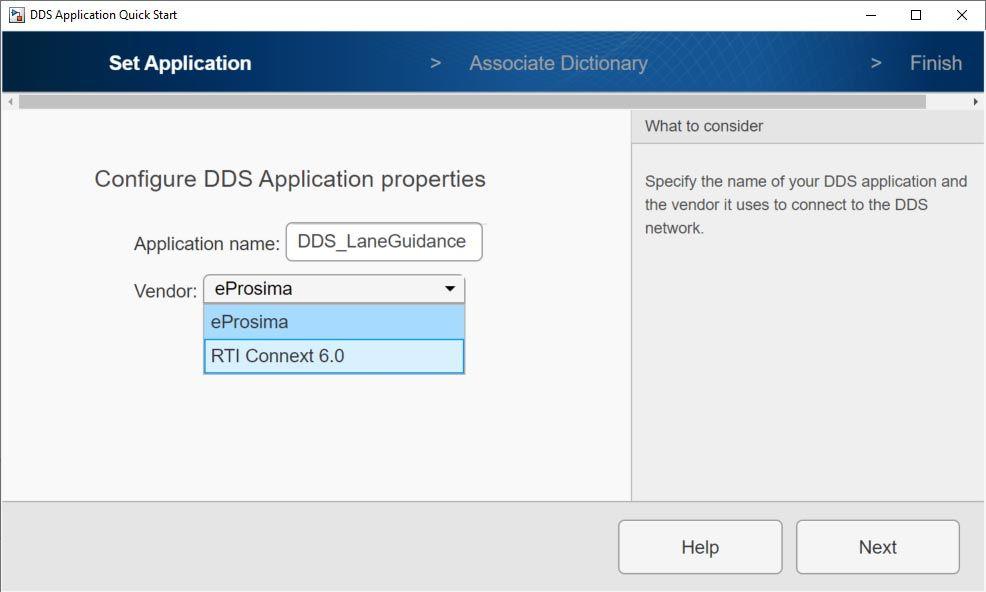 ベンダー選択のための eProsima と RTI Connext オプションが表示された DDS Application Quick Start 画面。