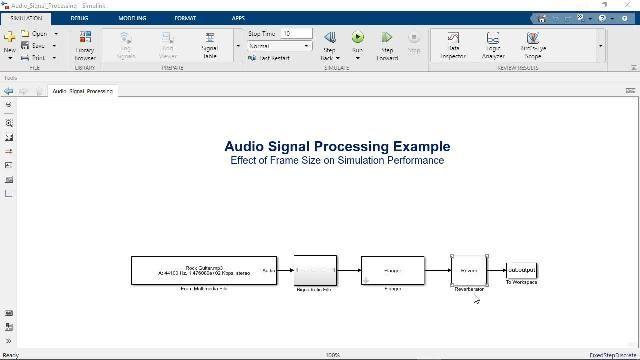Simulink でフレームベースの処理を使用してモデル シミュレーションを高速化し、リアルタイムシステムの動作を模擬する方法をご紹介します。