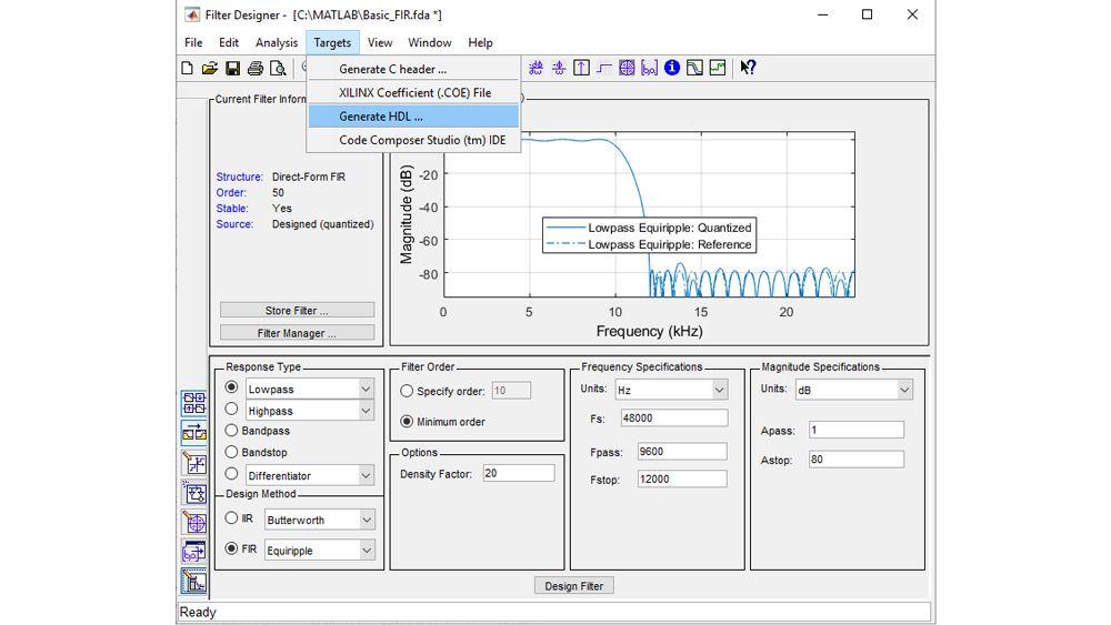 フィルターを設定して量子化し、次に HDL コード生成 UI を起動して、合成可能な VHDL コードまたは Verilog コードを生成します。