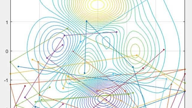 各粒子が 5 回移動した経路を表示