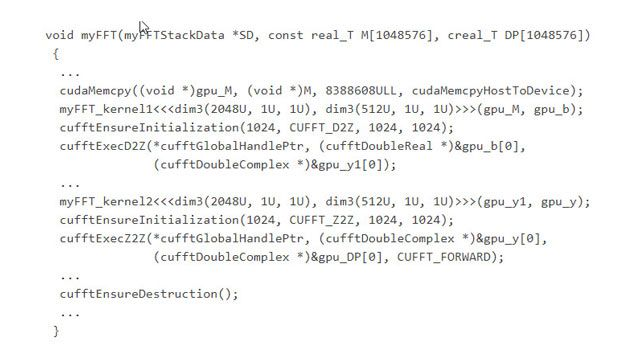 最適化された cuFFT CUDA ライブラリの関数を呼び出す生成コード。