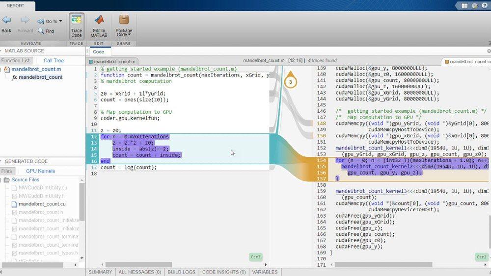 GPU Coder と Embedded Coder の併用による対話型のトレーサビリティ レポート。