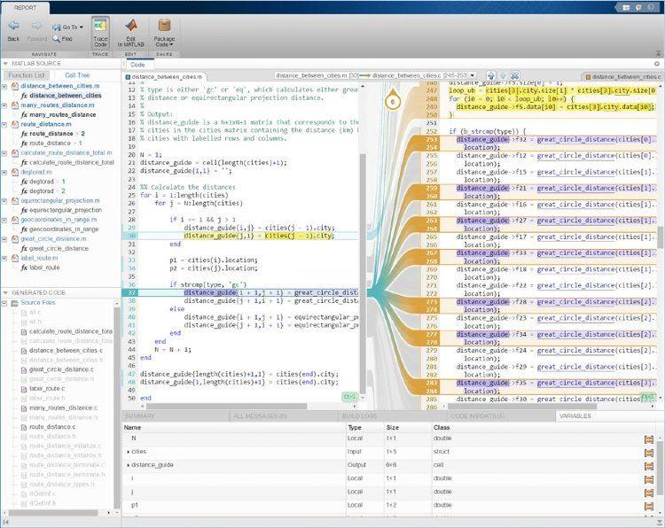 MATLAB Coder と Embedded Coder を併用する対話型のトレーサビリティ レポート。