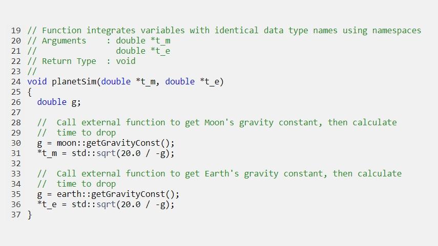生成されたコードは、名前空間を使用して同じデータ型名を持つ変数を統合します。