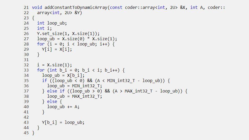 生成された関数に動的に割り当てられた配列を渡します。