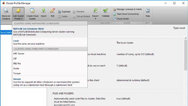 クラスター プロファイルを MATLAB に追加すると、使用可能なクラスターリソースにアクセスできます。