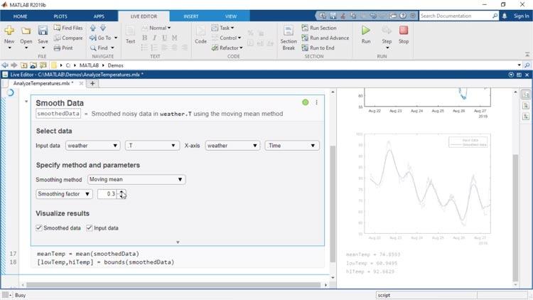 ライブ エディター タスクはライブスクリプトに組み込むことができるアプリです。対話的にパラメーターとオプションを探索し、すぐに結果を見て、完了したタスクに対応する MATLAB コードを、自動生成することができます。