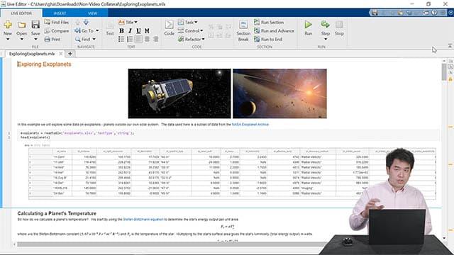 ノートブックの作成、作業の共有、およびコード作成の高速化などのライブエディター機能のデモビデオ