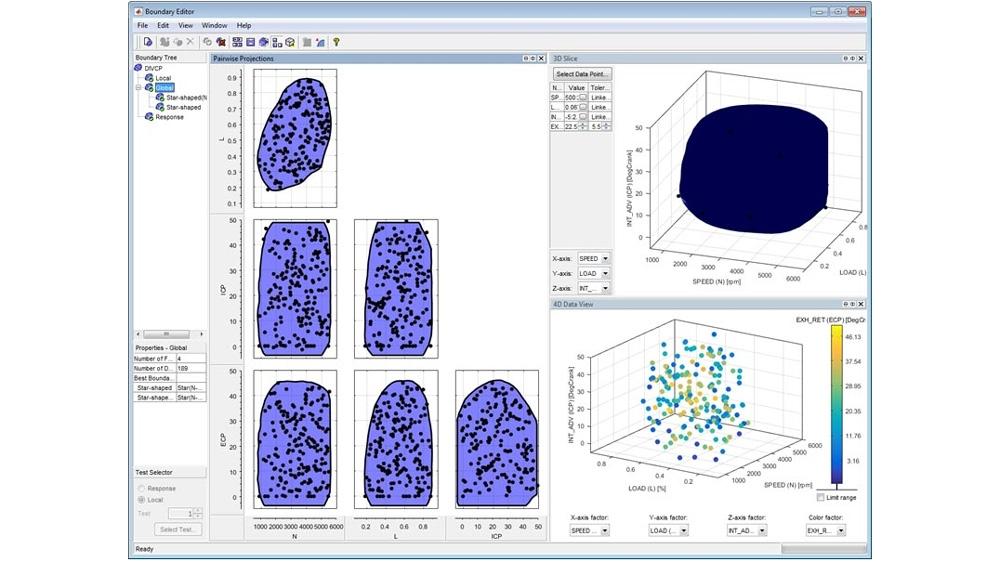 Boundary Editor を使用して、実行可能なテスト領域とそれに関連するテスト条件の定義と可視化を行う