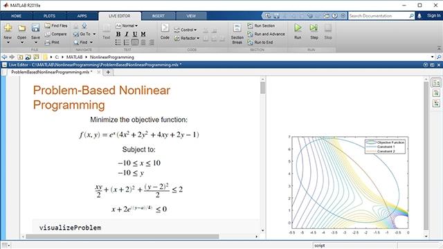 Optimization Toolbox の問題ベースアプローチによる非線形最適化問題の表現と解決。目的関数と制約の両方での非線形関数の使用。自動的に選択されたソルバーによる解決。