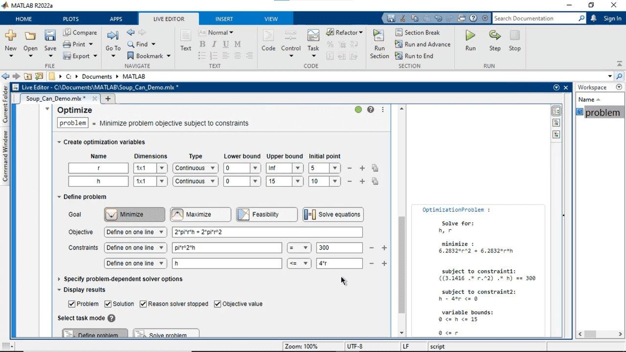 ビジュアル インターフェイスを使用して MATLAB、Optimization Toolbox、または Global OptimizationToolbox で最適化問題を対話形式で作成して解きます。目的関数と制約を指定して、ソルバーを選択し、オプションを設定します。