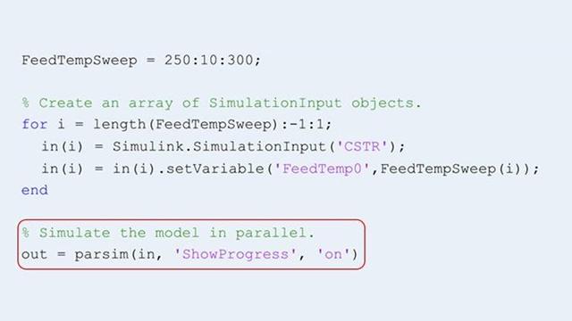 parsim 関数を使用して、複数のシミュレーションを並行して実行。