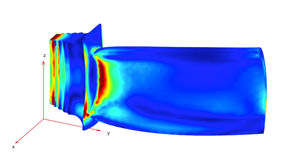 機械的負荷と熱負荷を組み合わせた場合の応力分布。