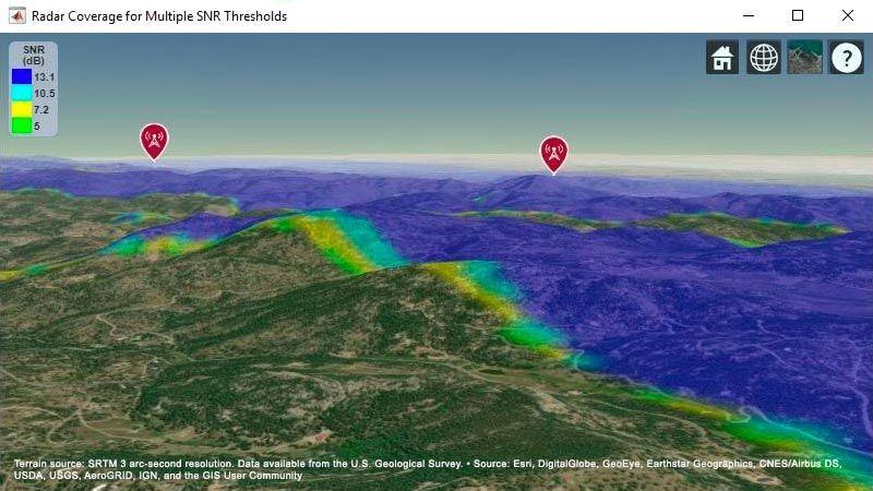 2 つのレーダーシステムを組み合わせたターゲットカバレッジ領域を示す地形ベースの地図。