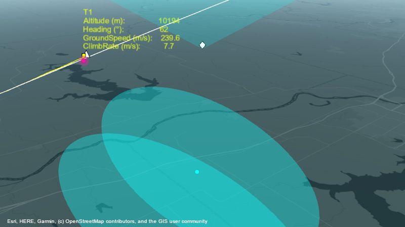 ルート上の航空機を追跡するレーダーシステム。